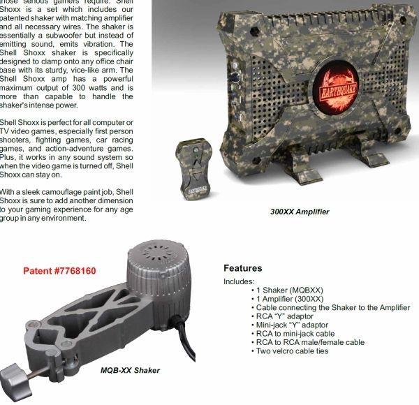 Earthquake Shell Shoxx Transducer/Shaker and 320W CAMO Amplifier Gaming Kit with Remote