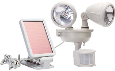 Maxsa 40218 Motion-Activated Solar Powered Dual-Head LED Security Floodlight