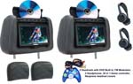 Myron Davis P7HDM2LR 7 Inch Complete Headrest Replacement Kit with Dual DVD Players