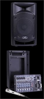 Power Acoustik P-10AMX 800W 10 2 Way Portable PA System w/ Removable 8 Channel Mixer & Mic